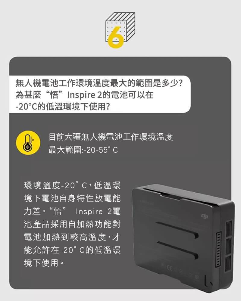 為甚麼Inspire 2的電池可以在-20°C的低溫環境下使用?|先創國際